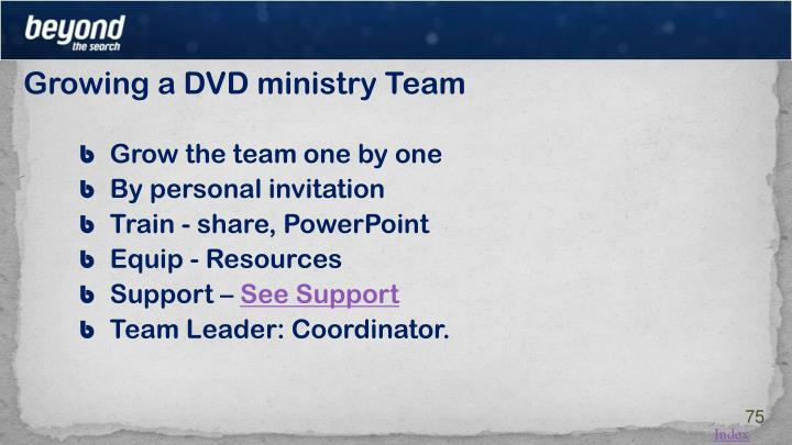 Growing a DVD ministry Team