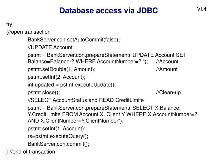 Database access via JDBC
