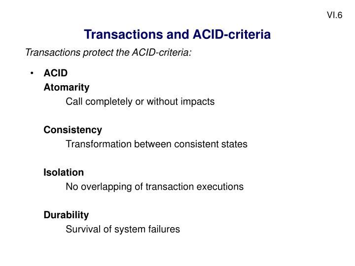 Transactions and ACID-criteria