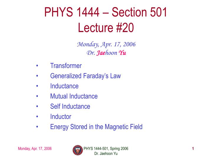 phys 1444 section 501 lecture 20 n.