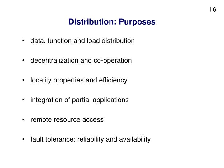 Distribution: Purposes