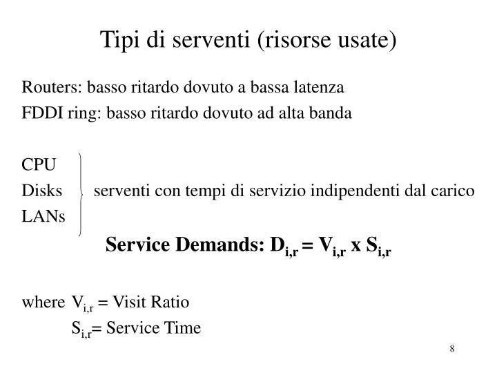 Tipi di serventi (risorse usate)