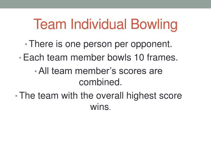 Team Individual Bowling