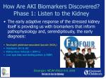 how are aki biomarkers discovered phase 1 listen to the kidney