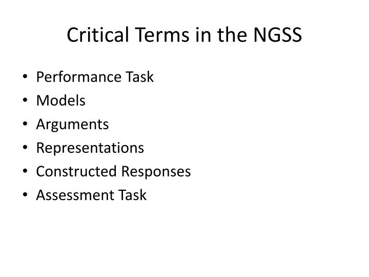 Critical Terms in the NGSS