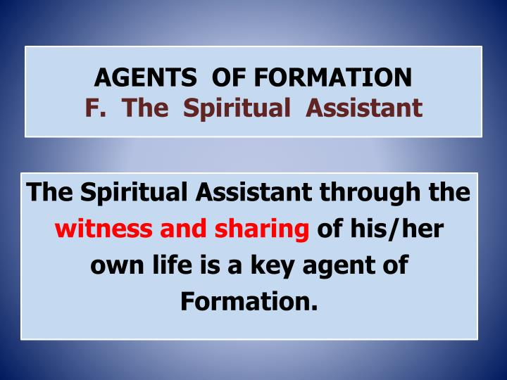 agents of formation f the spiritual assistant n.