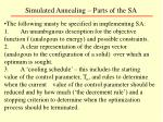 simulated annealing parts of the sa