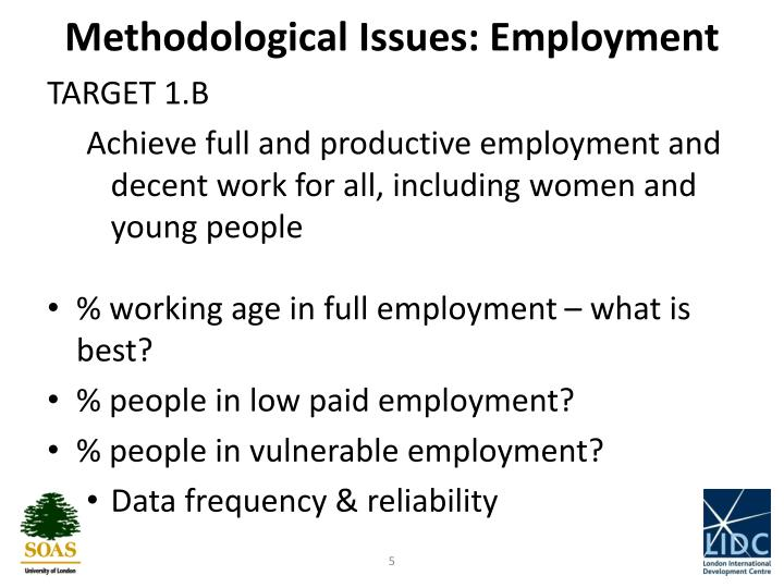 Methodological Issues: Employment
