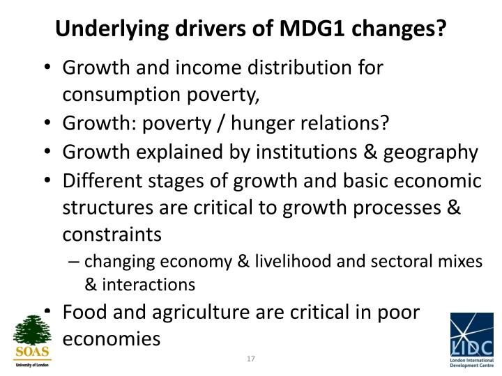 Underlying drivers of MDG1 changes?