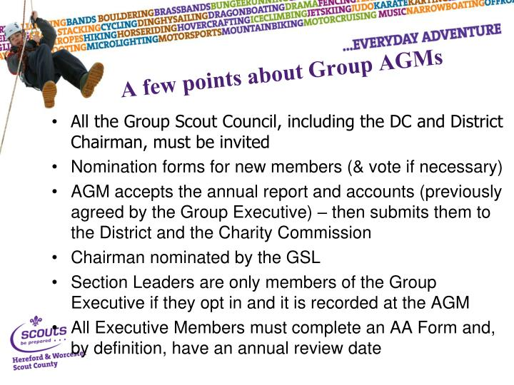 A few points about Group AGMs