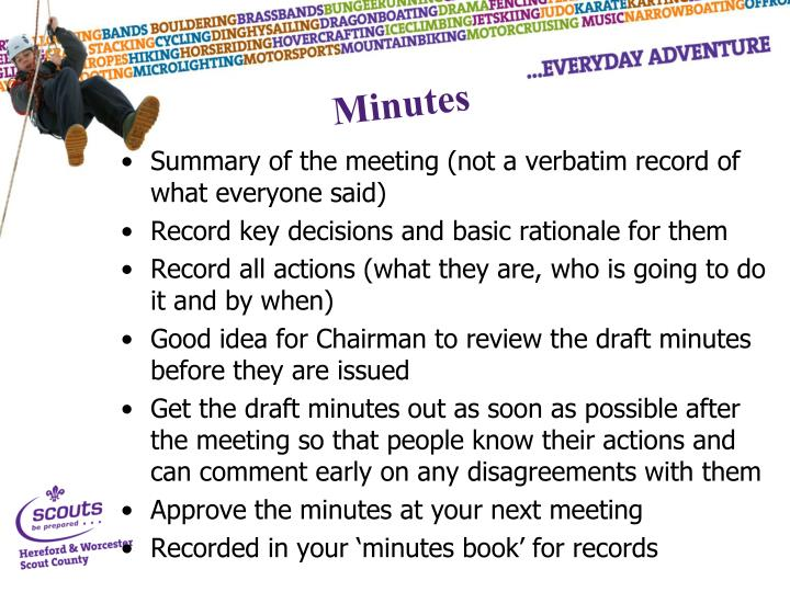 Summary of the meeting (not a verbatim record of what everyone said)