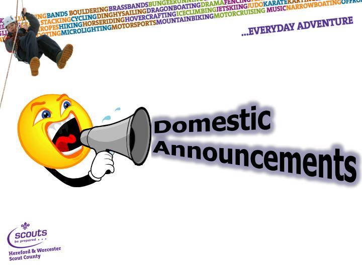 Domestic Announcements