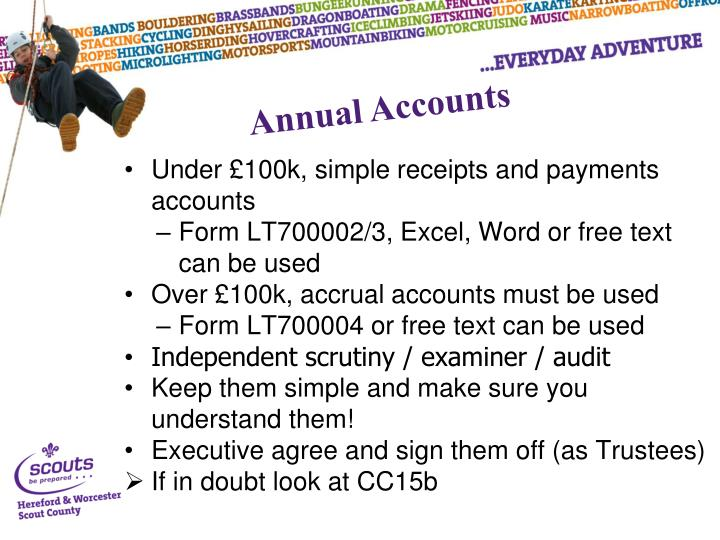 Under £100k, simple receipts and payments accounts