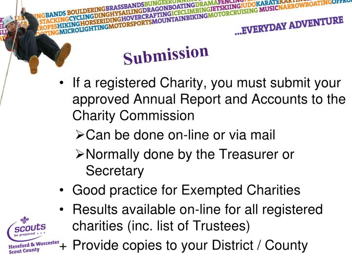 If a registered Charity, you must submit your approved Annual Report and Accounts to the Charity Commission
