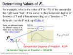determining values of f