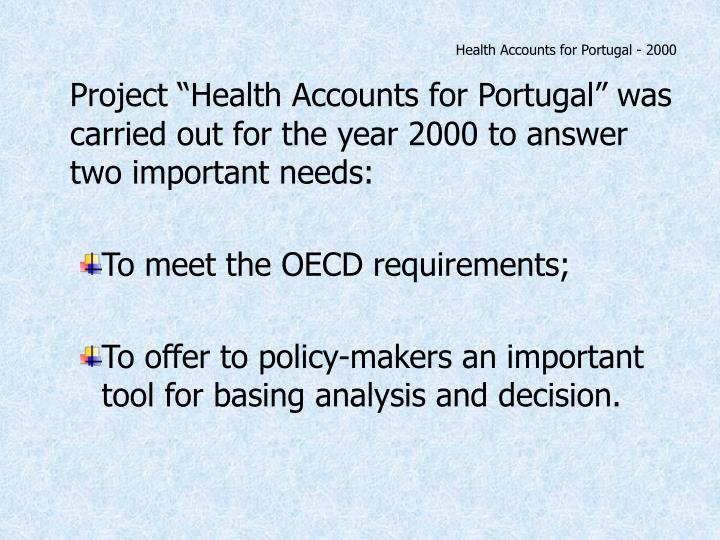Health accounts for portugal 2000