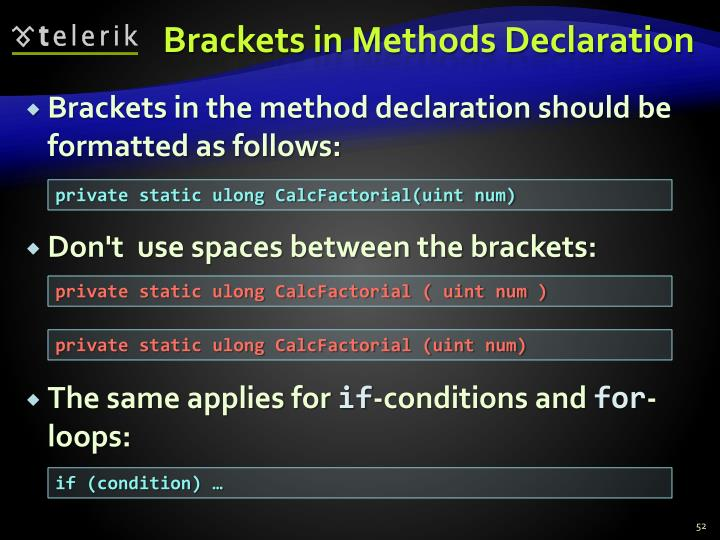 Brackets in Methods Declaration