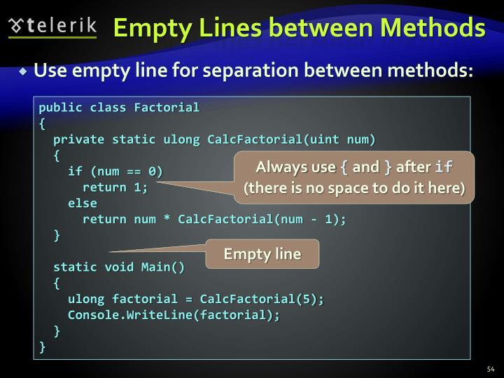 Empty Lines between Methods