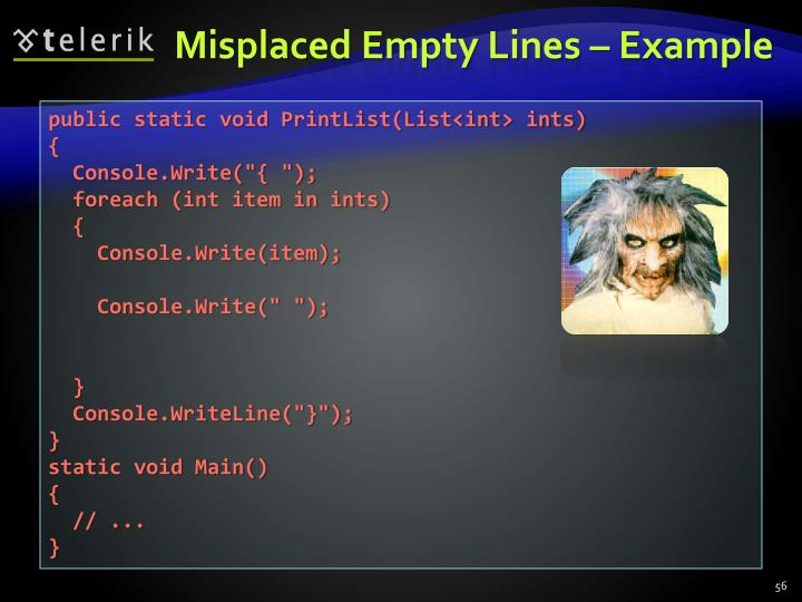Misplaced Empty Lines – Example