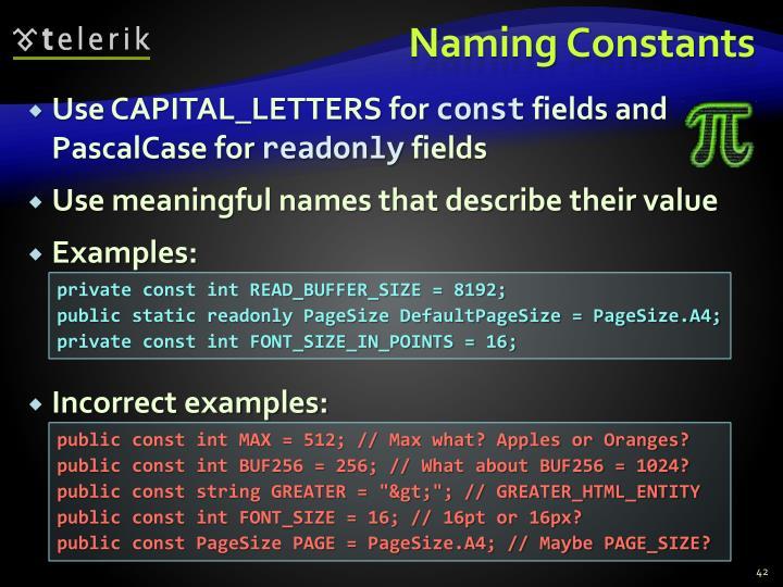 Naming Constants
