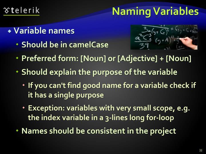 Naming Variables