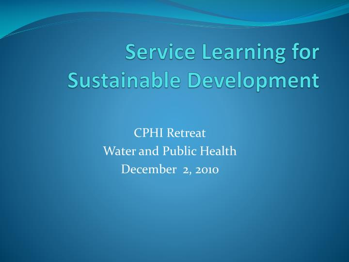 service learning for sustainable development n.