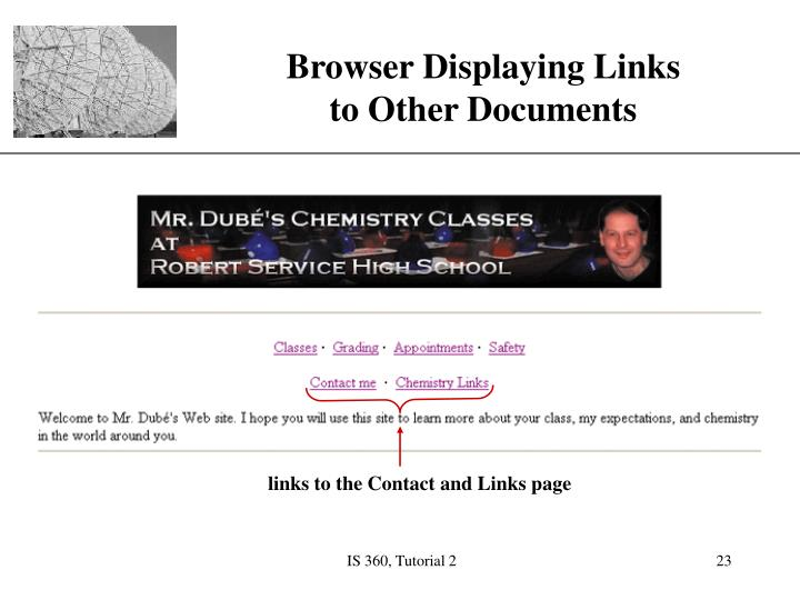 links to the Contact and Links page