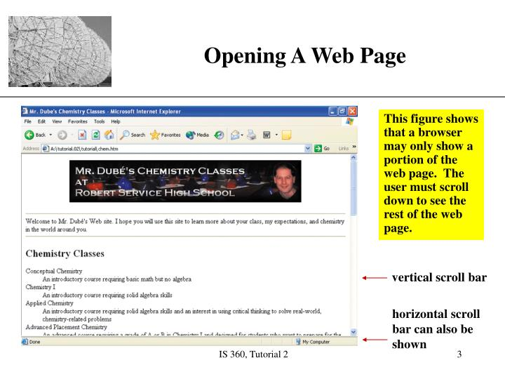 Opening a web page