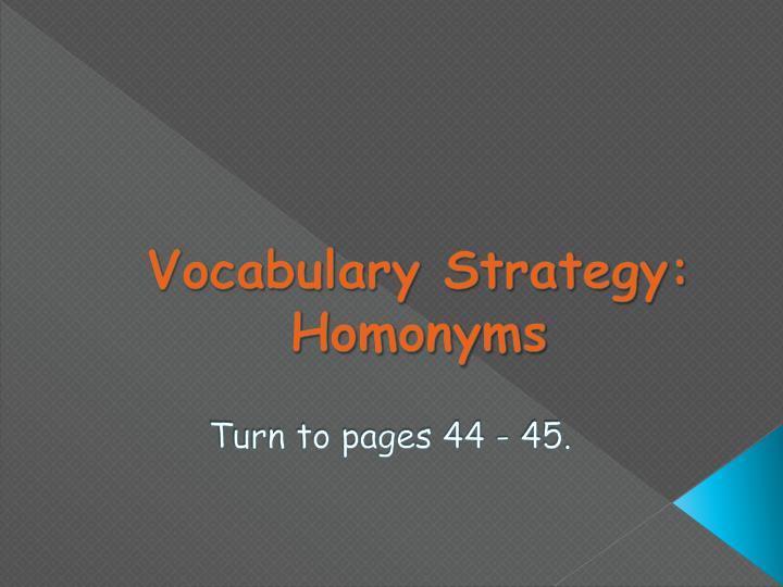 Vocabulary Strategy: