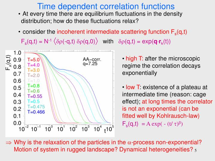 Time dependent correlation functions