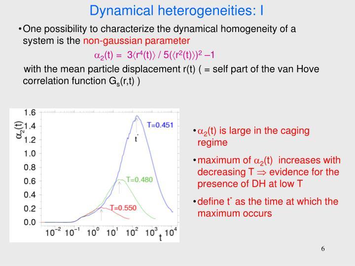 Dynamical heterogeneities: I