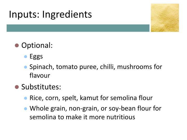 Inputs: Ingredients
