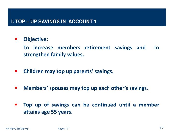 I. TOP – UP SAVINGS IN  ACCOUNT 1