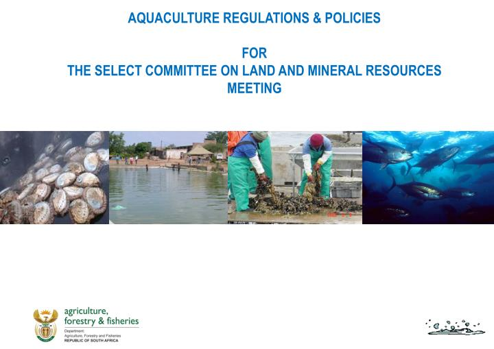 Aquaculture regulations policies for the select committee on land and mineral resources meeting