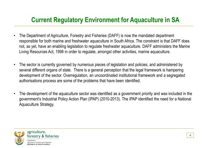 Current Regulatory Environment for Aquaculture in SA