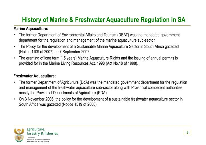 History of marine freshwater aquaculture regulation in sa