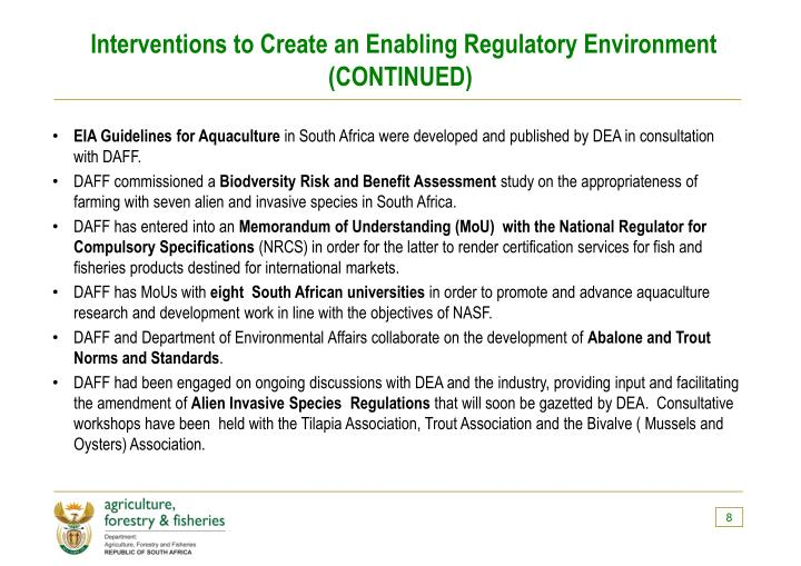 Interventions to Create an Enabling Regulatory Environment (CONTINUED)