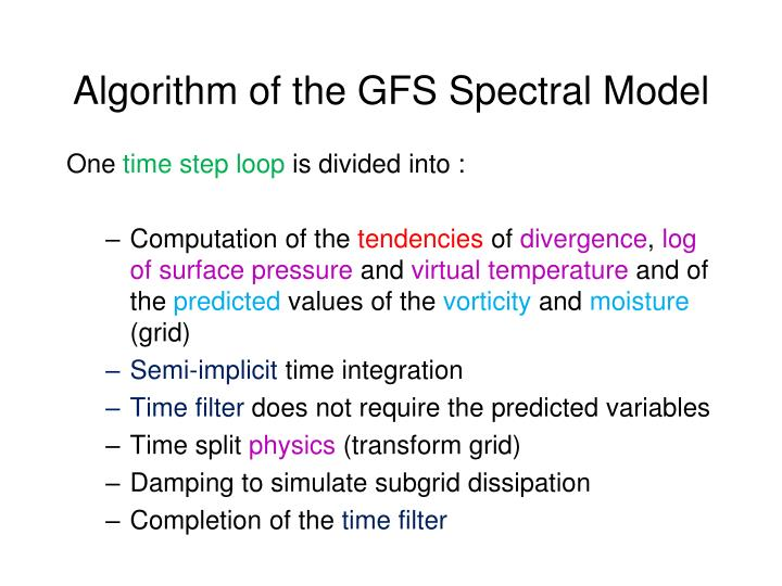 Algorithm of the GFS Spectral Model