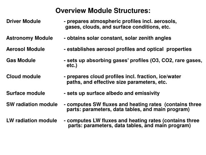 Overview Module Structures: