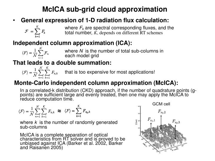 McICA sub-grid cloud approximation