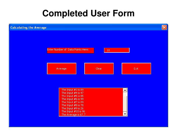 Completed User Form