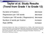 taylor et al study results trend from grade 1 to grade 12