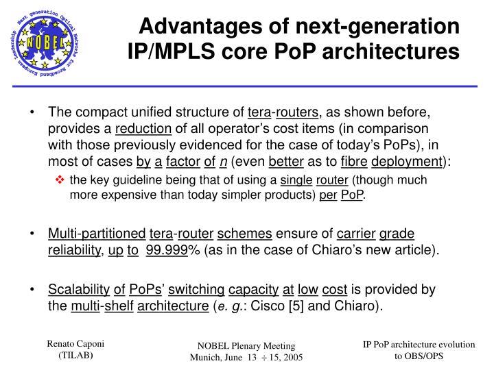 Advantages of next-generation IP/MPLS core
