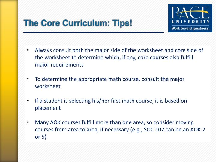 The Core Curriculum: Tips!