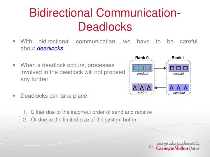 Bidirectional Communication- Deadlocks