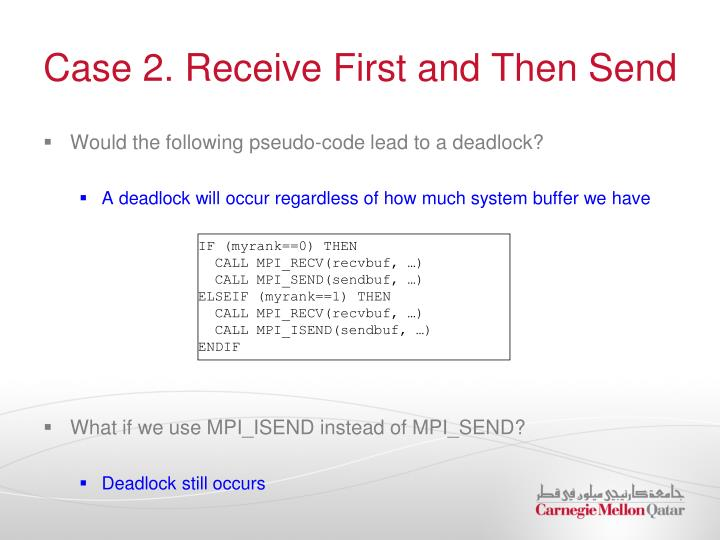 Case 2. Receive First and Then Send