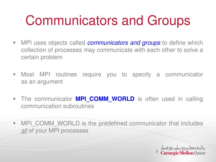 Communicators and Groups