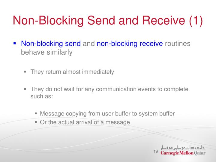Non-Blocking Send and Receive (1)