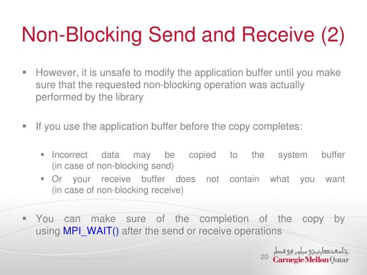 Non-Blocking Send and Receive (2)