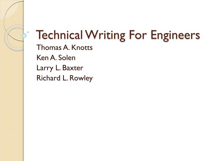 technical writing for engineers n.